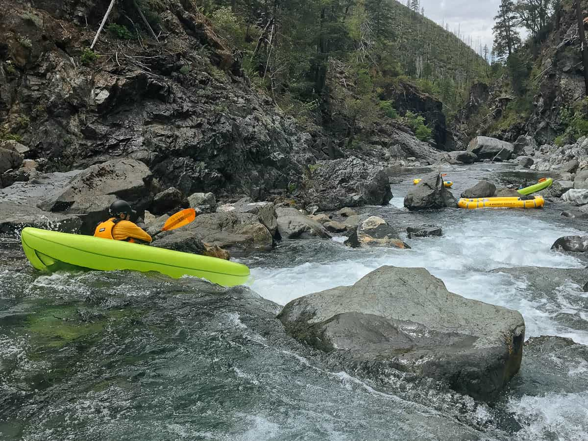 Kayaking the entrance of First Sieve Rapid