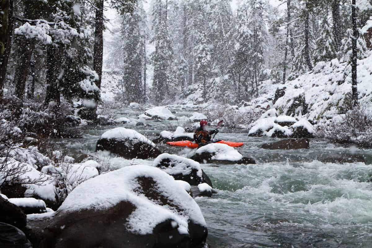 Winter Boating on the South Fork of Rough and Ready Creek