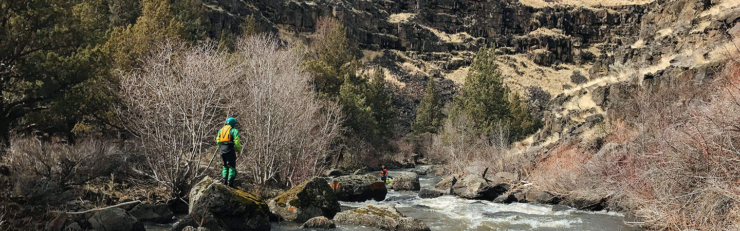 Scouting the Sharp Bend Rapid on the South Fork of the Donner und Blitzen River