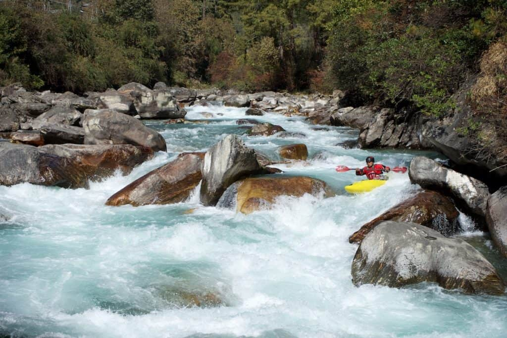 Thinley running Big Thinley Rapid on the Upper Thimphu Chhu