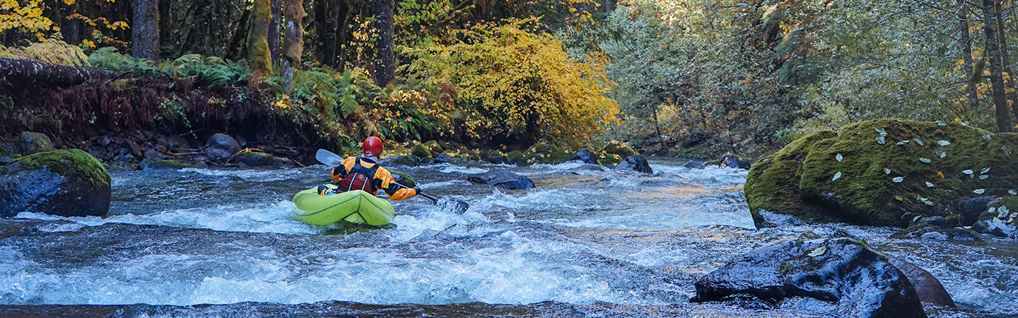 Inflatable Kayak on the Roaring River